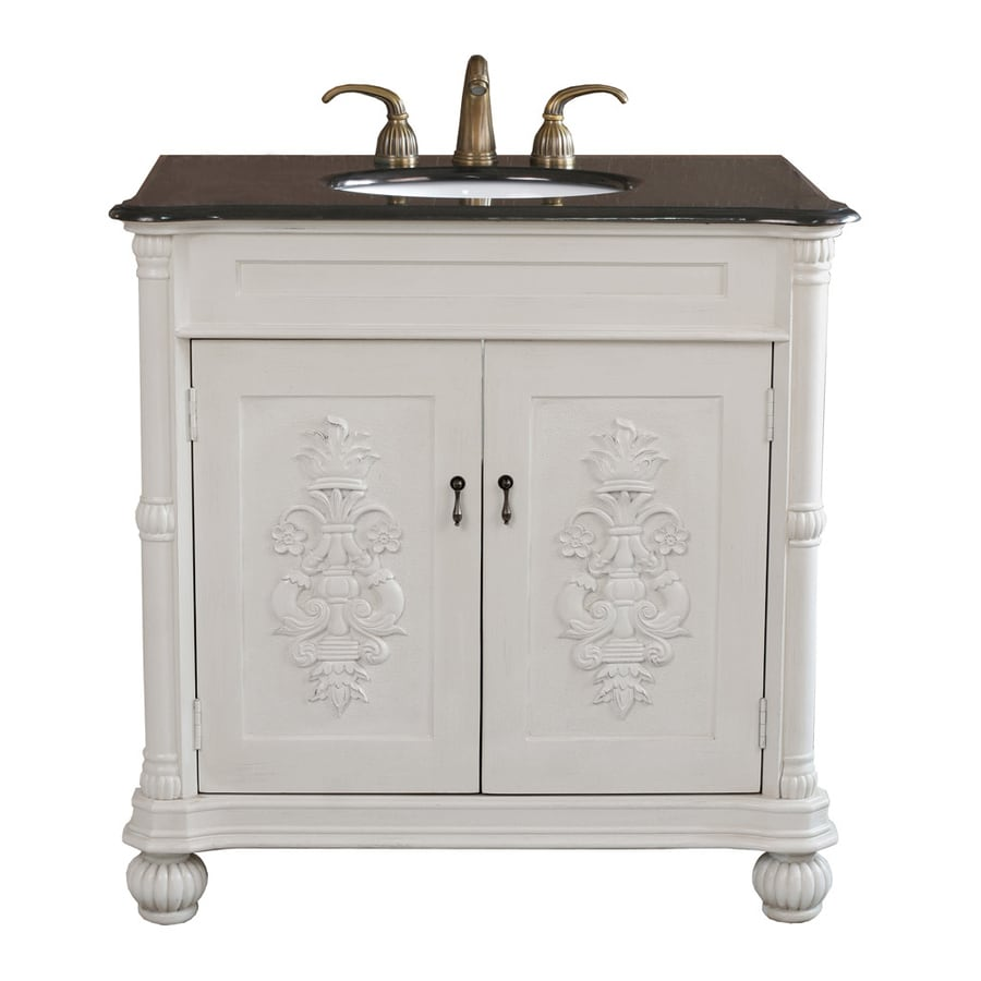 Bellaterra Home Antique White 36-in Undermount Single Sink Birch Bathroom Vanity with Granite Top