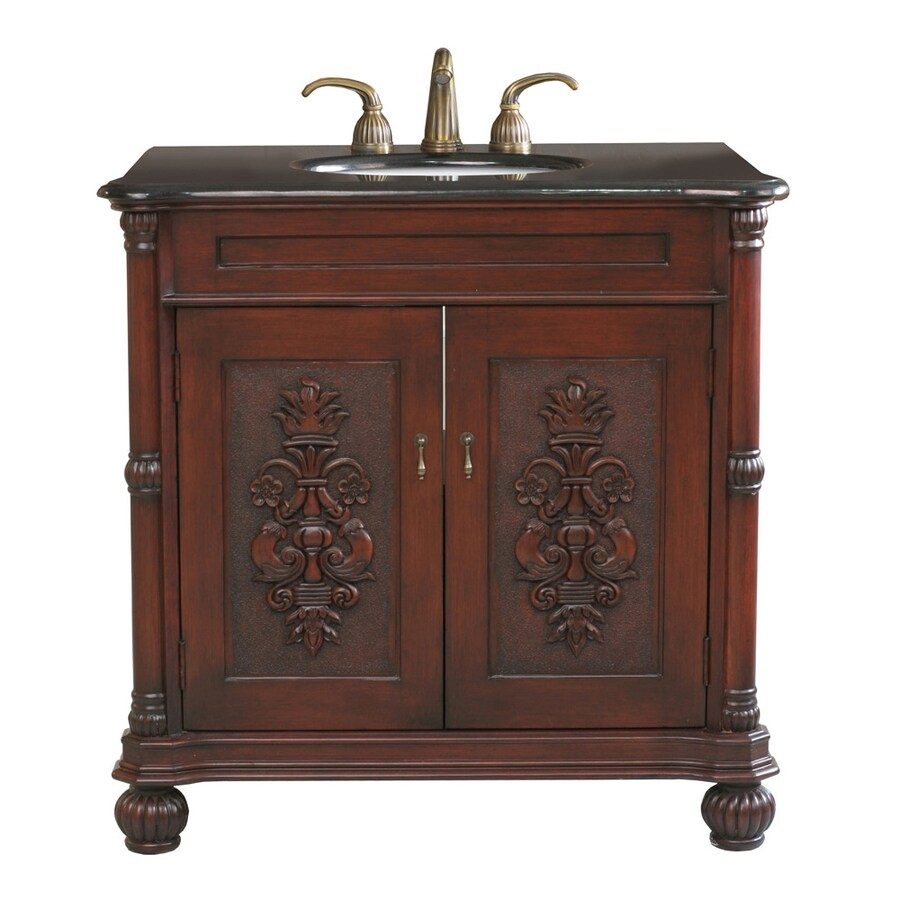 Bellaterra Home Colonial Cherry 36-in Undermount Single Sink Birch Bathroom Vanity with Granite Top