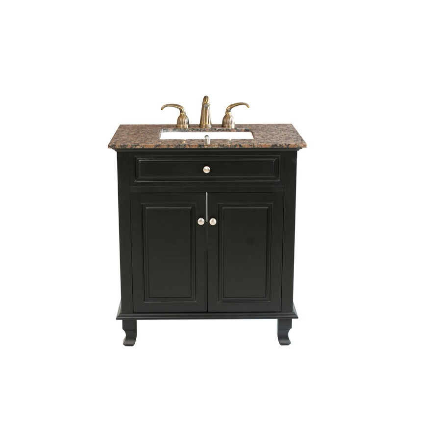 Bellaterra Home Ebony Undermount Single Sink Bathroom Vanity with Natural Marble Top (Common: 32-in x 22-in; Actual: 32-in x 22-in)