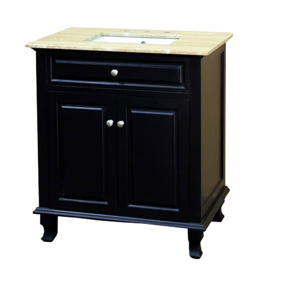 Bellaterra home 32 in ebony single sink bathroom vanity - Lowes single sink bathroom vanity ...