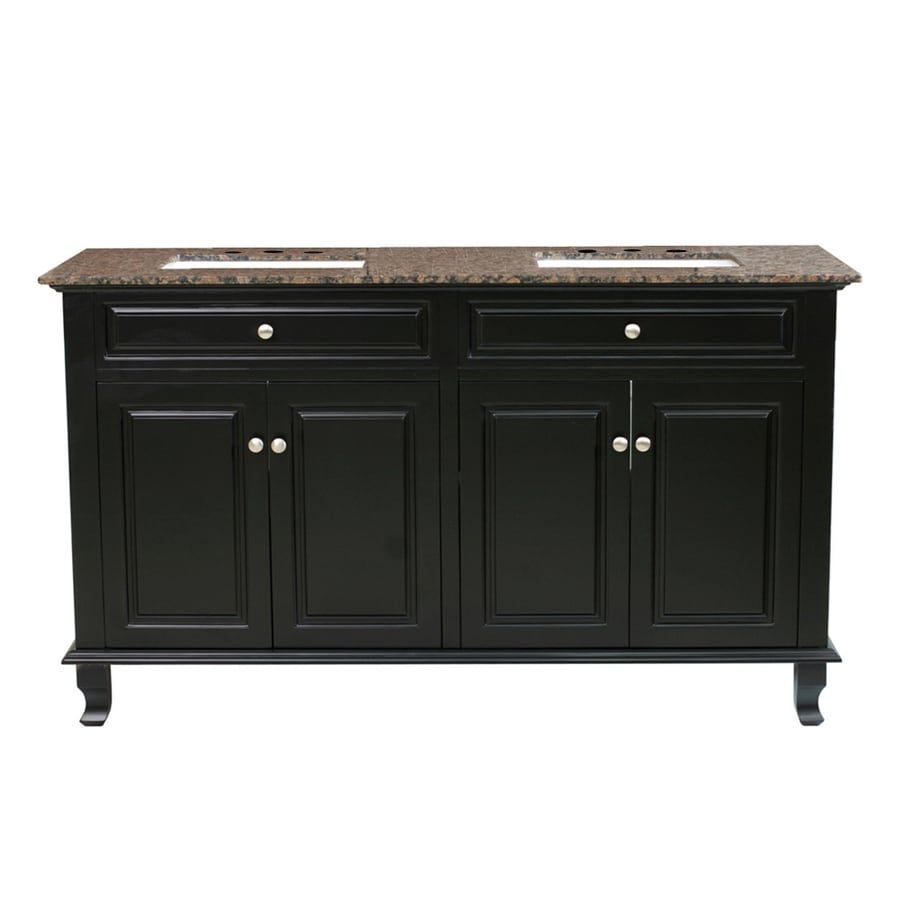Bellaterra Home Ebony Undermount Double Sink Bathroom Vanity with Natural Marble Top (Common: 62-in x 22-in; Actual: 62-in x 22-in)