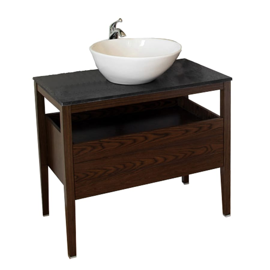 Bellaterra Home Dark Walnut Single Vessel Sink Bathroom Vanity With Granite Top Common 35