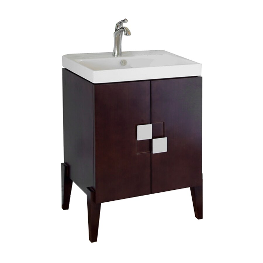 Bellaterra Home Walnut Belly Sink Single Sink Bathroom Vanity with Vitreous China Top (Common: 25-in x 16-in; Actual: 25-in x 16-in)