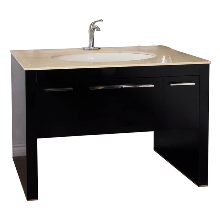 Shop Bellaterra Home Dark Walnut Undermount Single Sink Bathroom Vanity With Natural Marble Top
