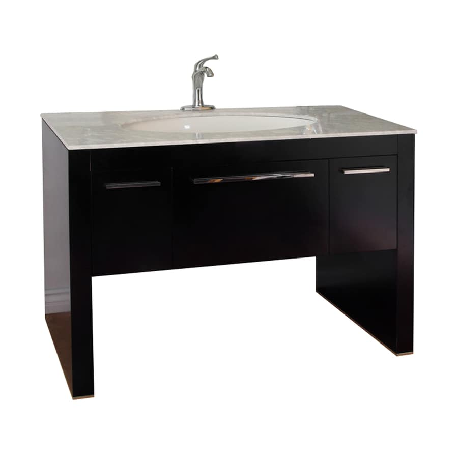 Bellaterra Home Dark Walnut Undermount Single Sink Bathroom Vanity with Natural Marble Top (Common: 55-in x 23-in; Actual: 55.3-in x 23.6-in)