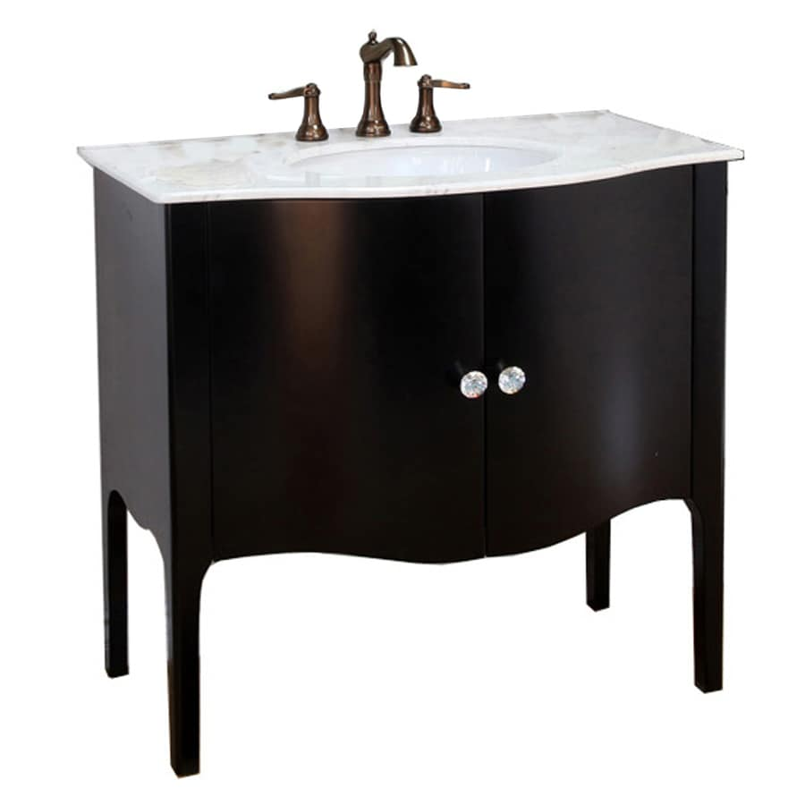 Rapids Fun black bathroom vanity with white marble top soak cotton ball