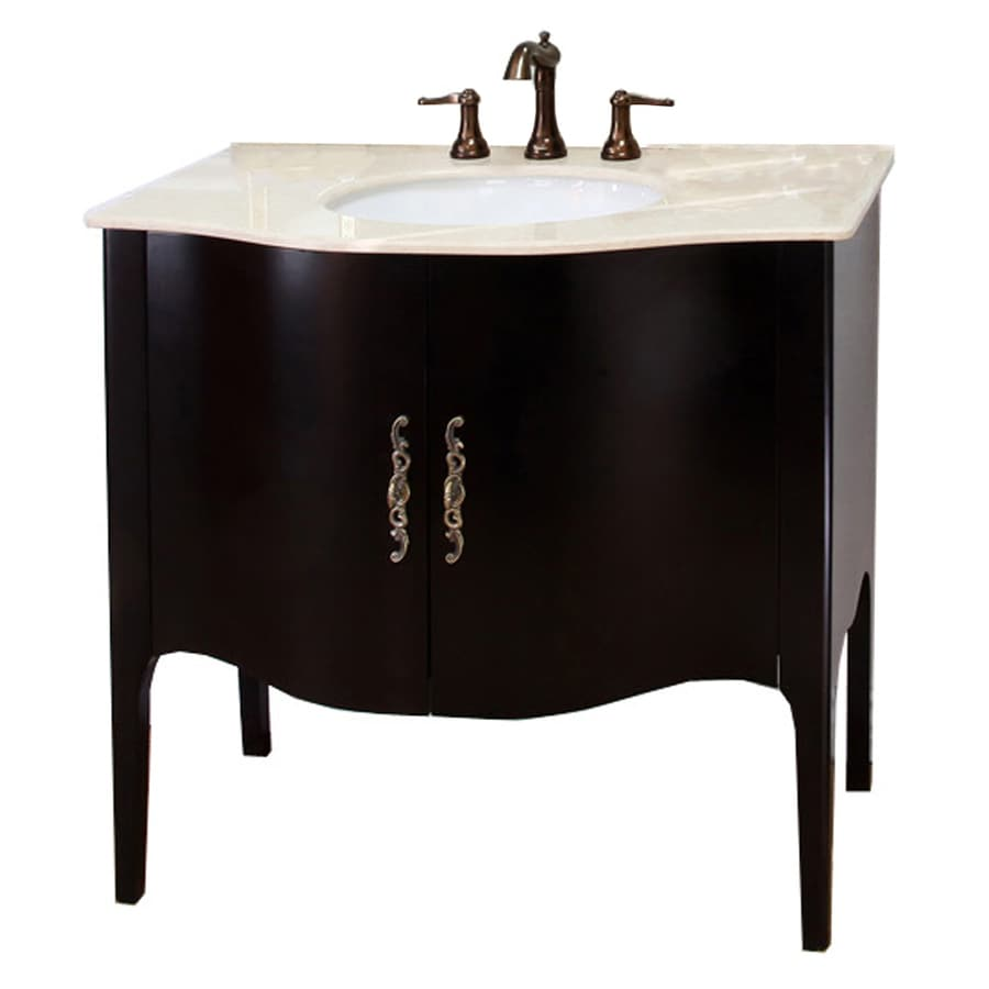 Bellaterra Home Espresso 36.6-in Undermount Single Sink Birch Bathroom Vanity with Natural Marble Top