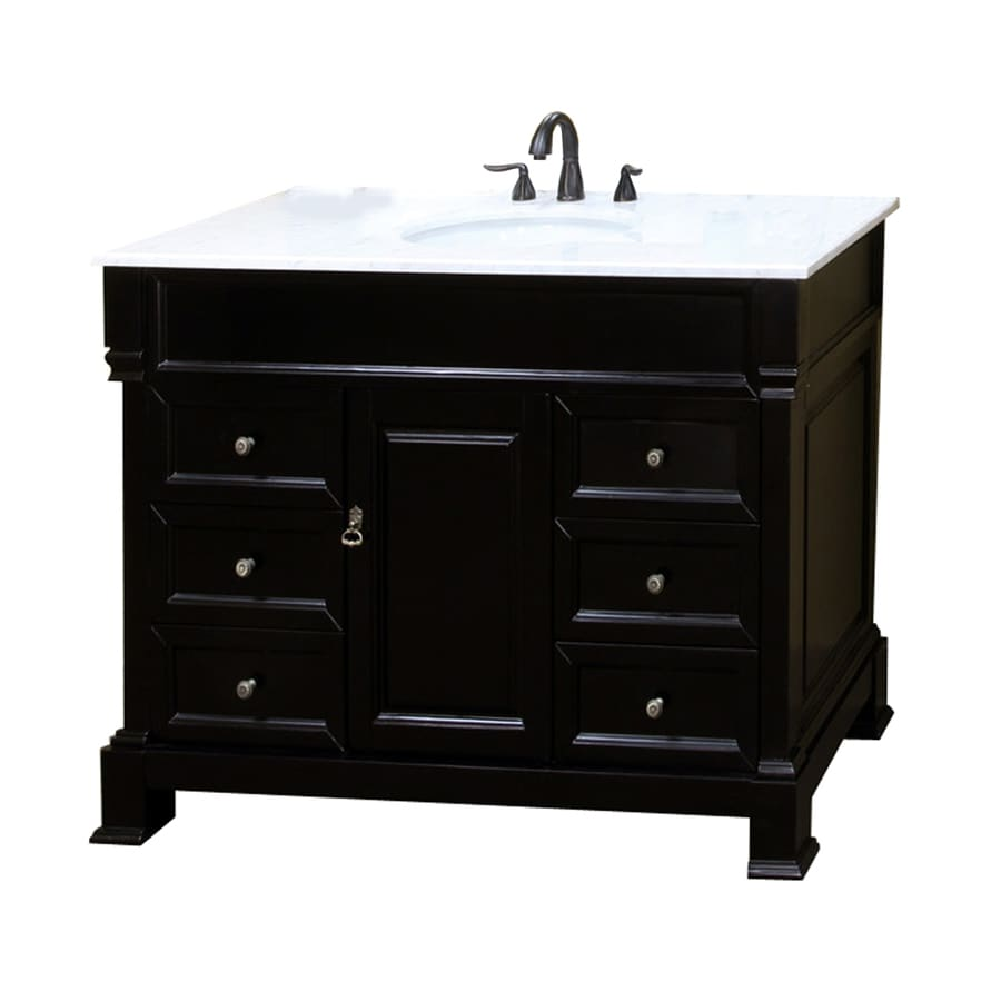 Bellaterra Home Espresso Undermount Single Sink Bathroom Vanity with Natural Marble Top (Common: 50-in x 22-in; Actual: 50-in x 22.5-in)