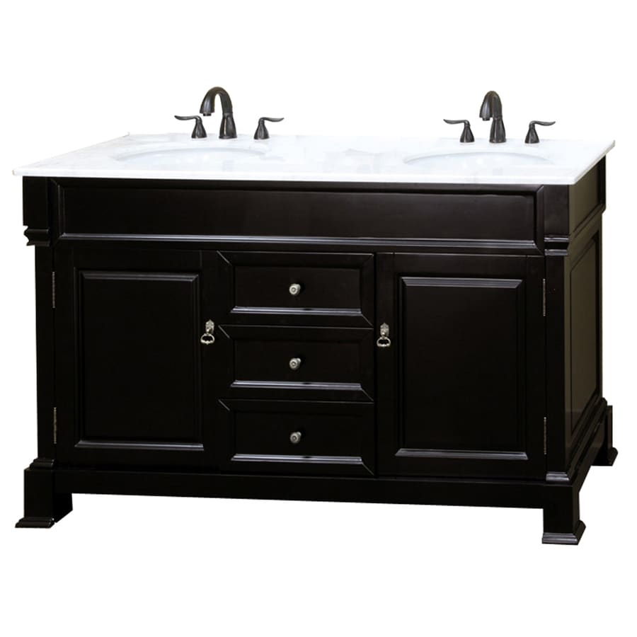 Bellaterra Home Espresso (Common: 60-in x 22-in) Undermount Double Sink Birch Bathroom Vanity with Natural Marble Top (Actual: 60-in x 22.5-in)