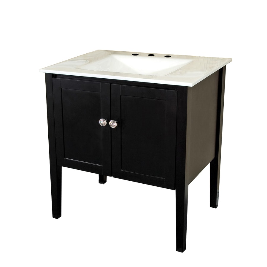 Bellaterra Home Black 33.5-in Undermount Single Sink Birch Bathroom Vanity with Glass Top