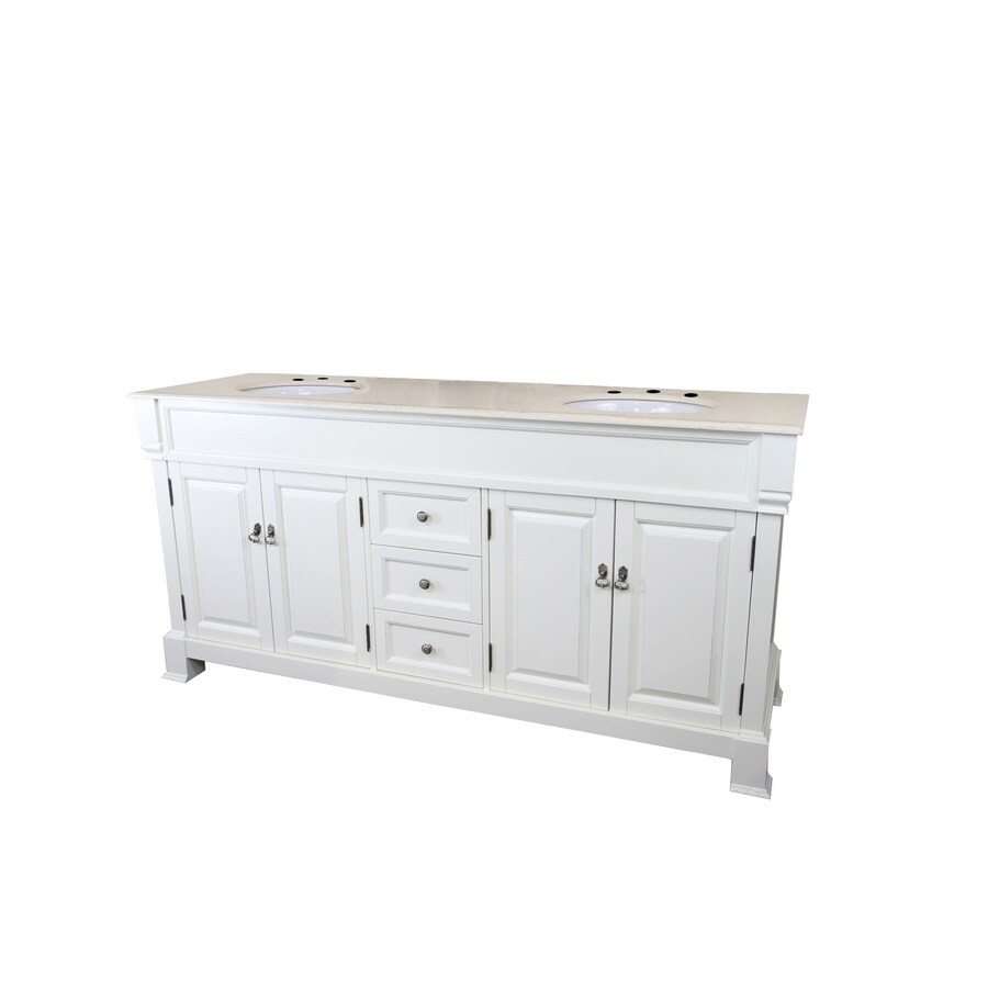 Bellaterra Home Cream White 72-in Undermount Double Sink Birch Bathroom Vanity with Natural Marble Top
