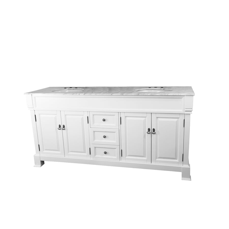 Bellaterra Home White 72-in Undermount Double Sink Birch Bathroom Vanity with Natural Marble Top