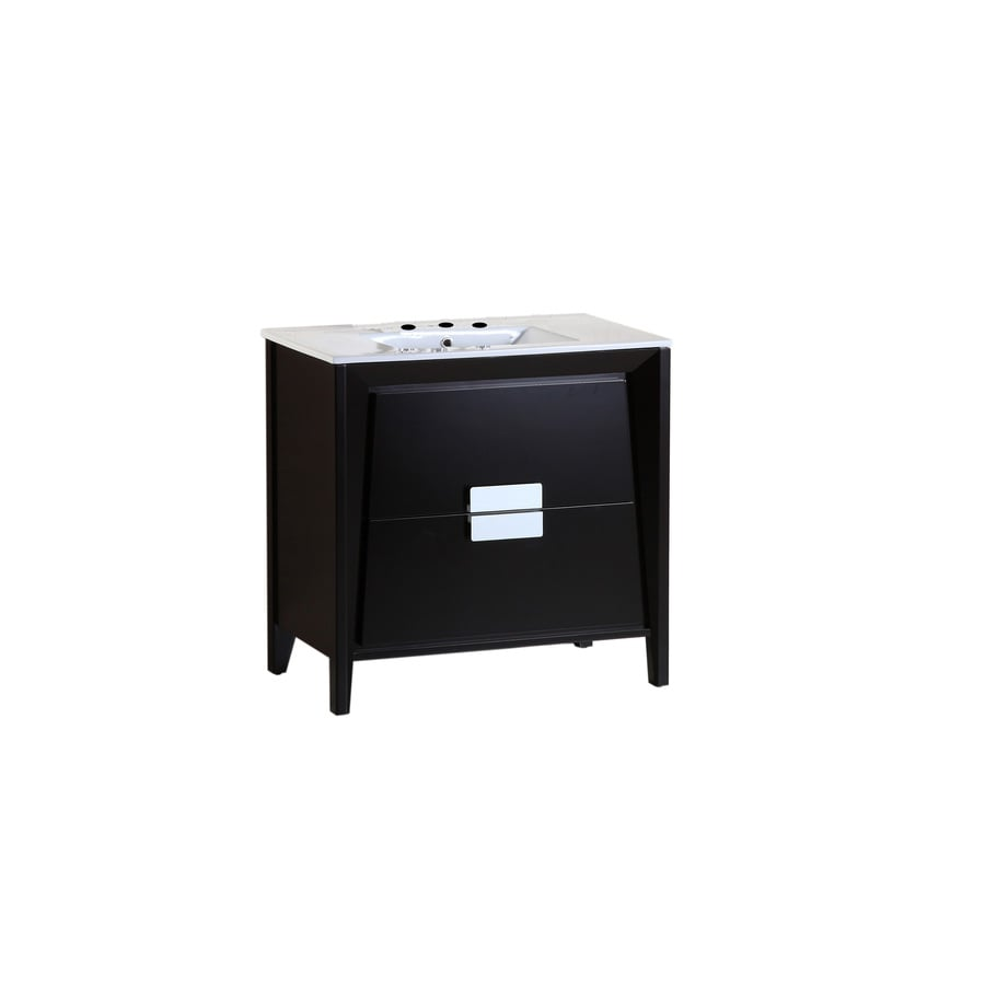 Bellaterra Home Dark Espresso 36-in Self-Rimming Single Sink Birch Bathroom Vanity with Ceramic Top