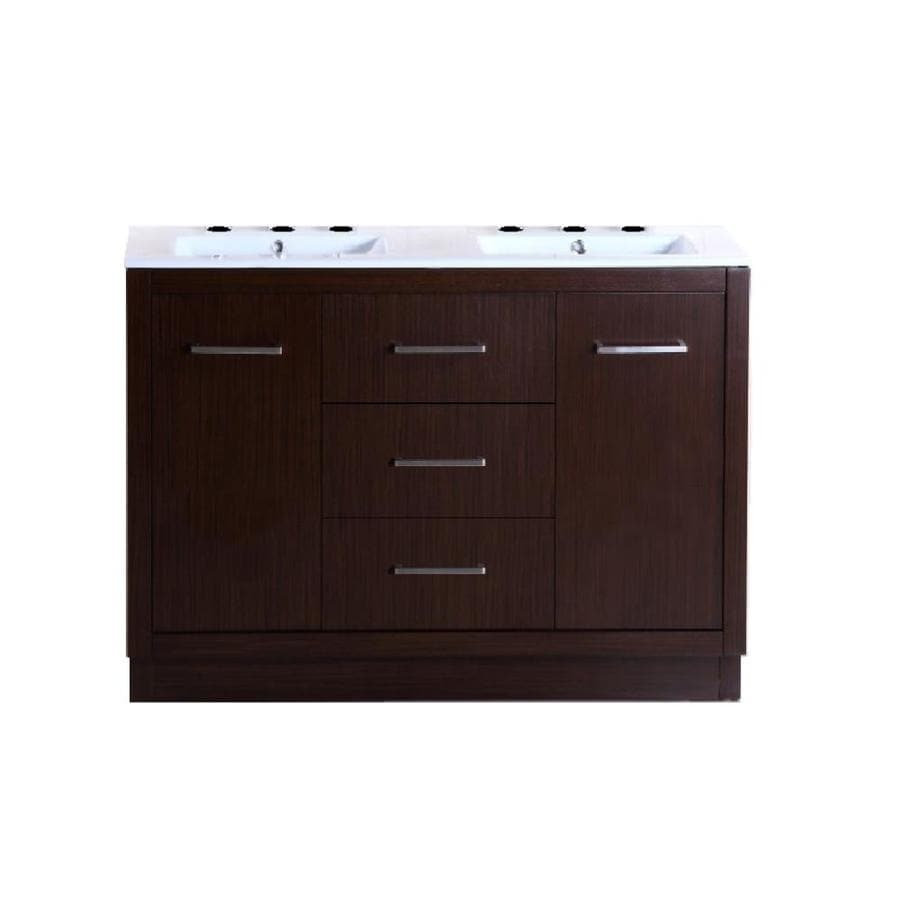 Bellaterra Home Wenge 48-in Self-Rimming Double Sink Birch Bathroom Vanity with Ceramic Top