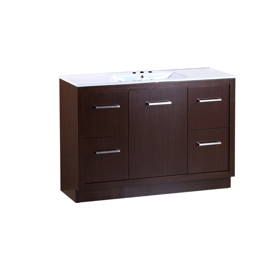 Bellaterra Home Wenge Self-Rimming Single Sink Bathroom Vanity with Ceramic Top (Common: 48-in x 18-in; Actual: 48-in x 18-in)