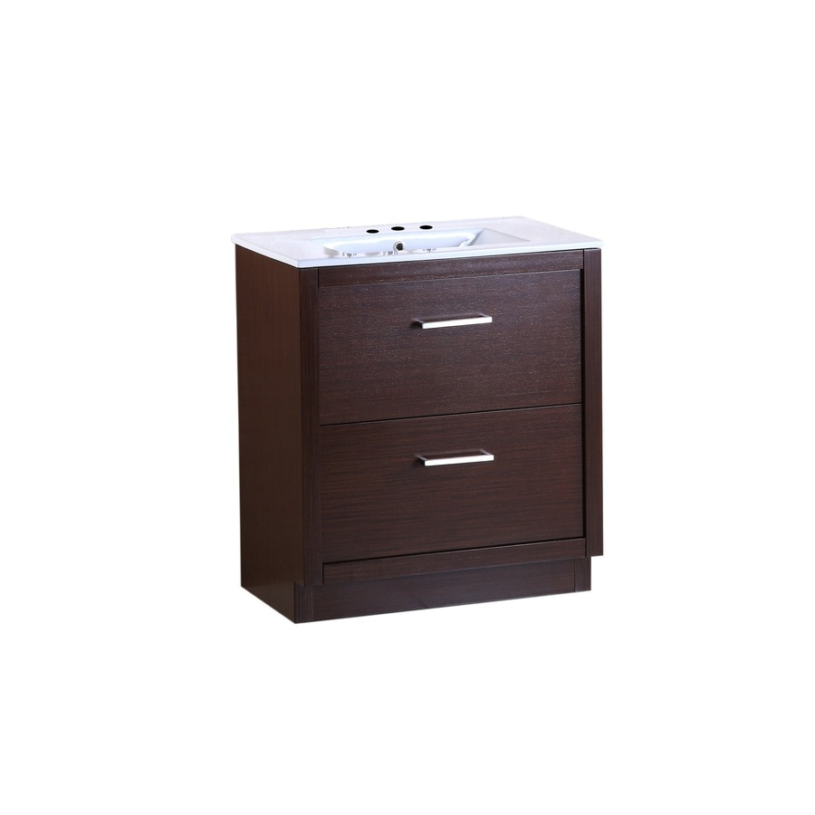 Bellaterra Home Wenge 30-in Self-Rimming Single Sink Birch Bathroom Vanity with Ceramic Top