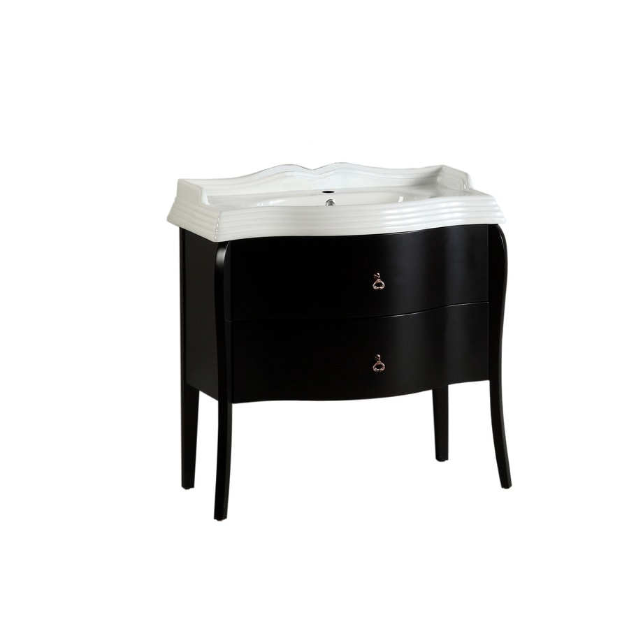 Bellaterra Home Dark Espresso Self-Rimming Single Sink Bathroom Vanity with Ceramic Top (Common: 36-in x 21-in; Actual: 36-in x 20.5-in)