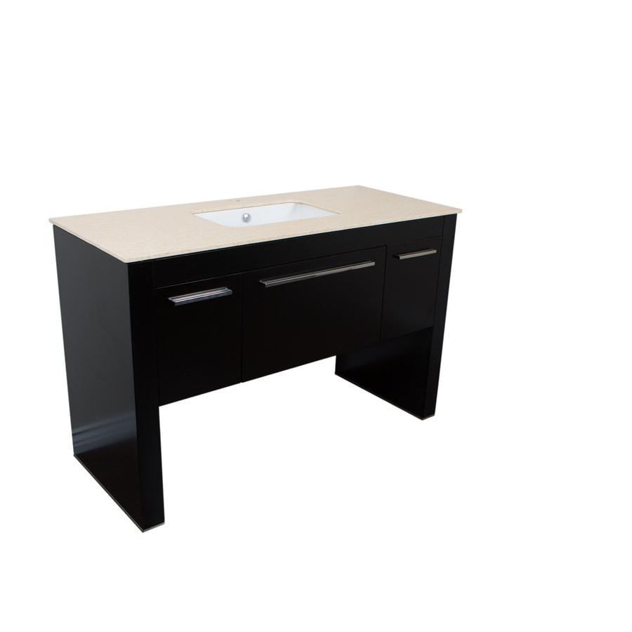 Shop Bellaterra Home Black Undermount Single Sink Bathroom Vanity With Ceramic Top Common 56