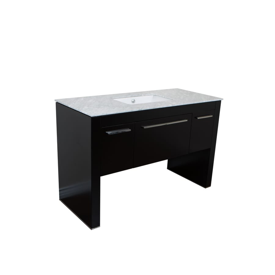 Bellaterra Home Black 55.3-in Undermount Single Sink Birch Bathroom Vanity with Ceramic Top