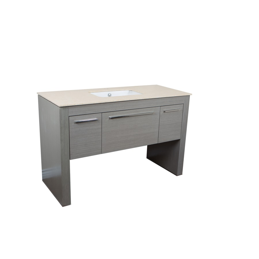 Bellaterra Home Gray Undermount Single Sink Bathroom Vanity with Ceramic Top (Common: 56-in x 24-in; Actual: 55.3-in x 23.6-in)