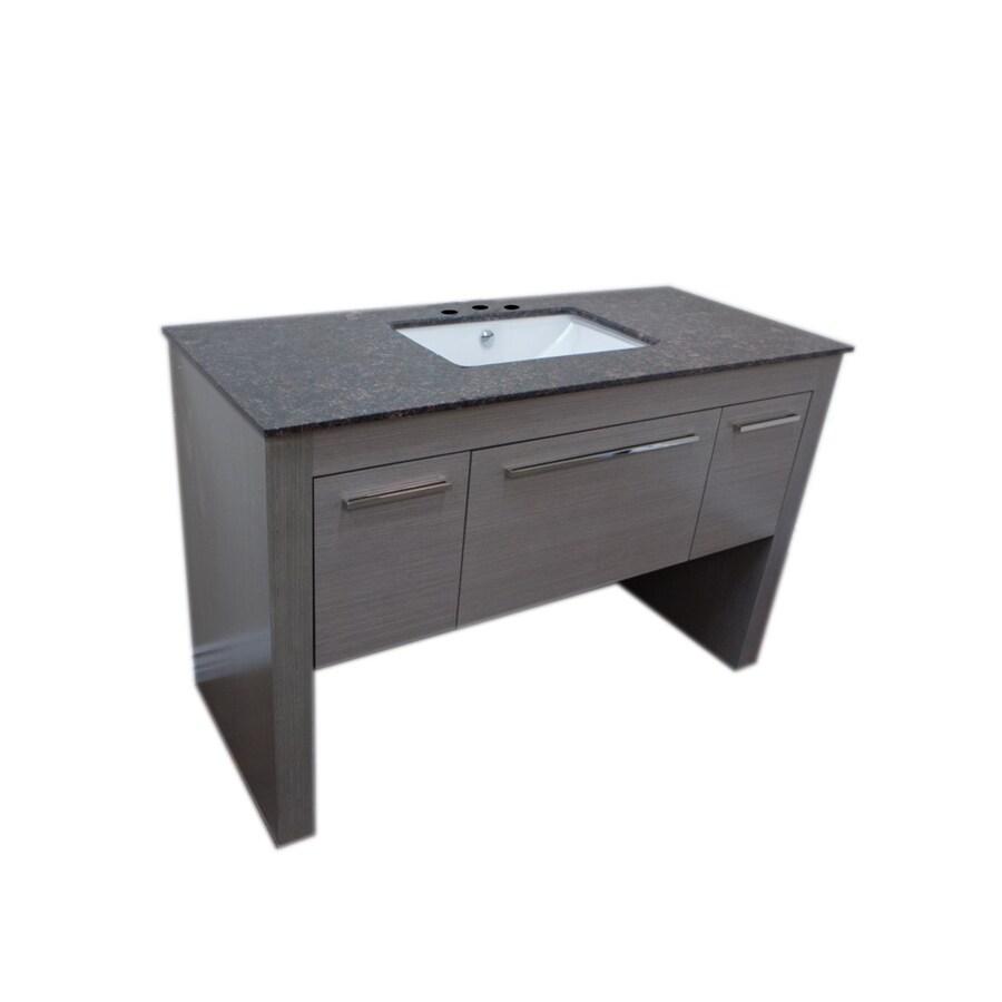 Bellaterra Home Gray (Common: 56-in x 24-in) Undermount Single Sink Birch Bathroom Vanity with Ceramic Top (Actual: 55.3-in x 23.6-in)