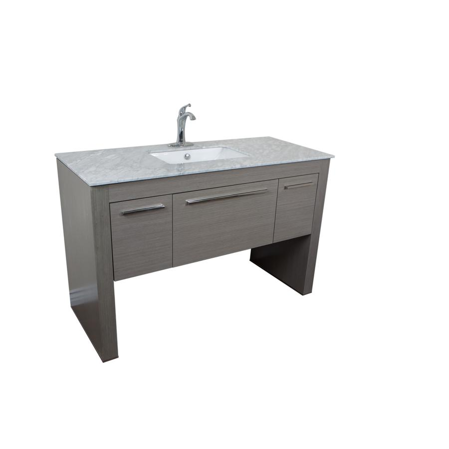 Bellaterra Home Gray (Common: 56-in x 24-in) Undermount Single Sink Birch Bathroom Vanity with Ceramic Top (Actual: 55.3-in x 23.6-in)