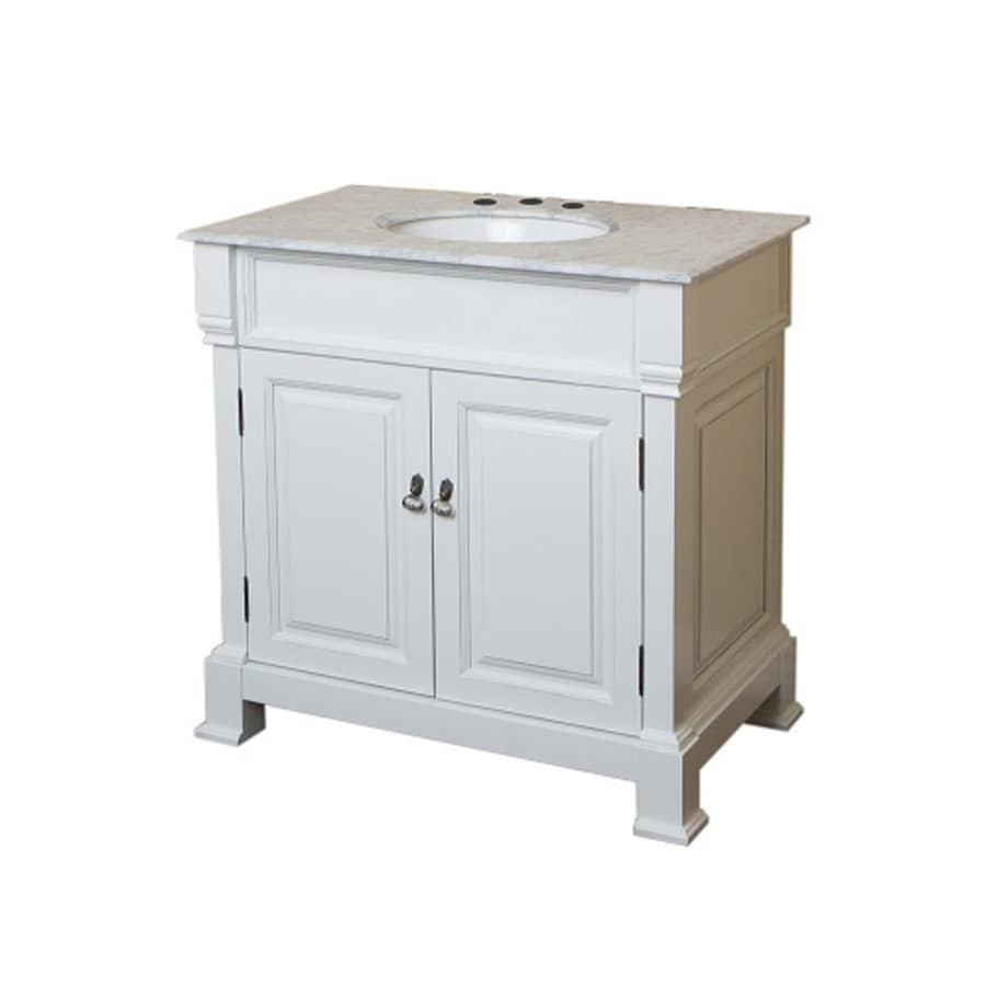 Bellaterra Home White (Rub Edge) (Common: 36-in x 23-in) Undermount Single Sink Birch Bathroom Vanity with Natural Marble Top (Actual: 36-in x 22.5-in)