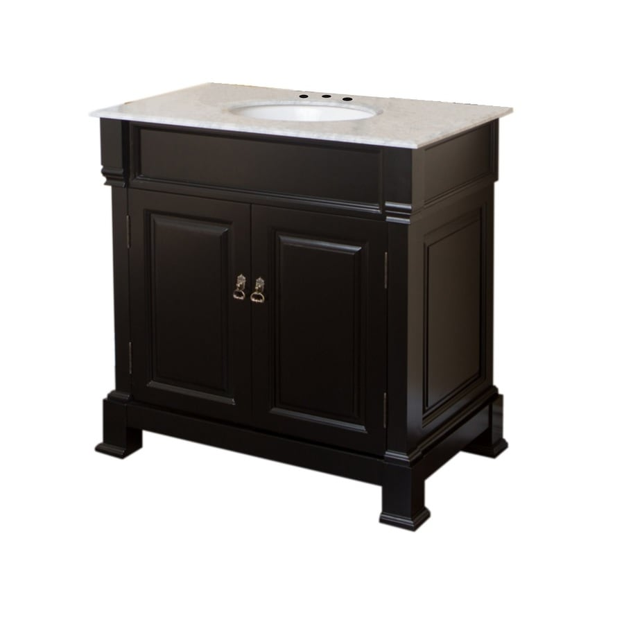 Bellaterra Home Espresso Undermount Single Sink Bathroom Vanity with Natural Marble Top (Common: 36-in x 23-in; Actual: 36-in x 22.5-in)
