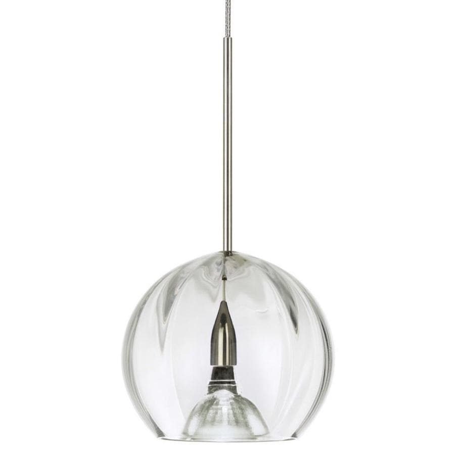 Stone 3.5-in Polished Nickel Mini Clear Glass Pendant