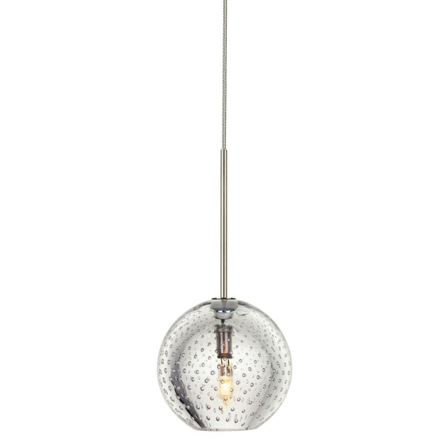 Stone 3.25-in Polished Nickel Mini Textured Glass Pendant