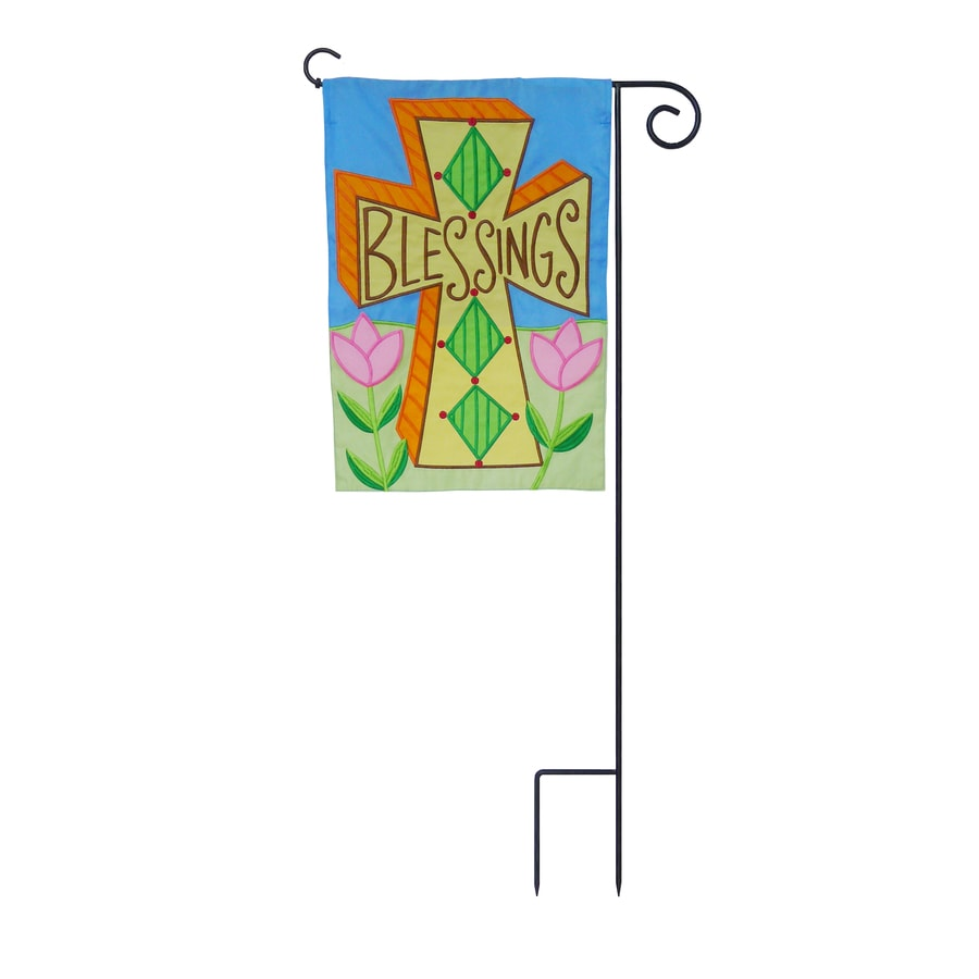 1-ft W x 1.5-ft H Inspirational Embroidered Garden Flag