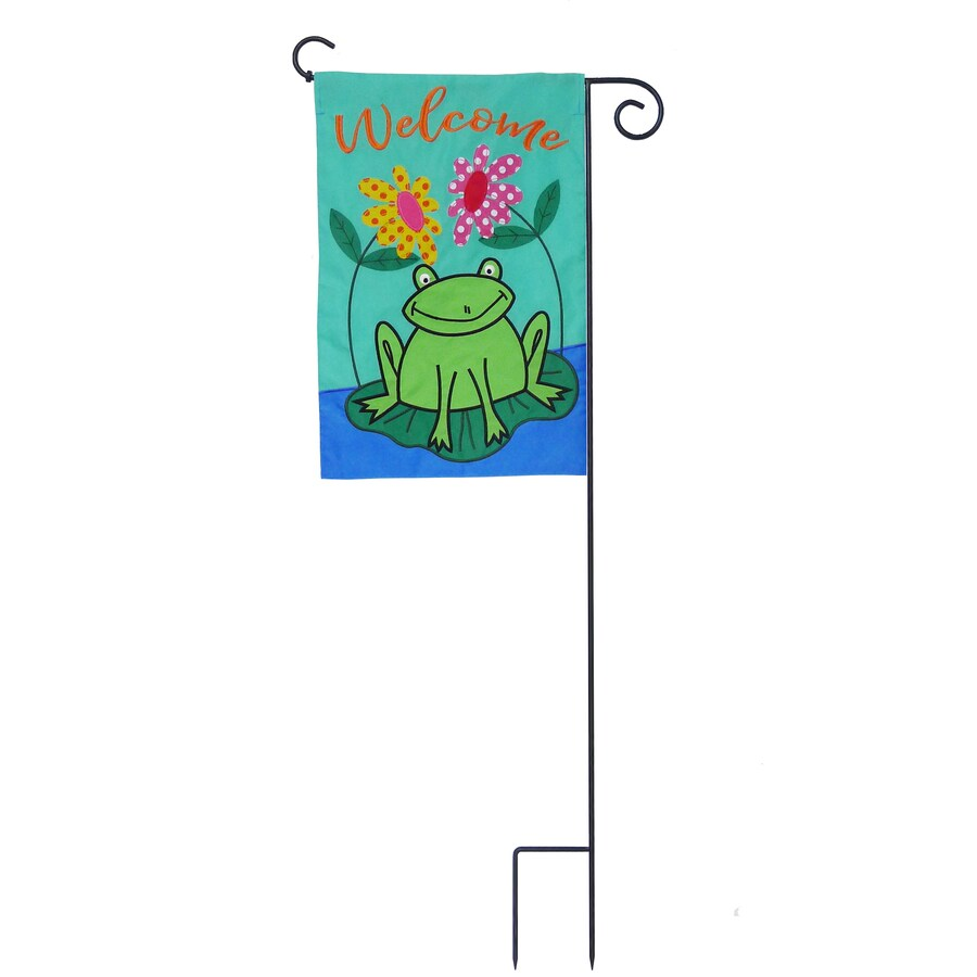 1-ft W x 1.5-ft H Frogs Embroidered Garden Flag