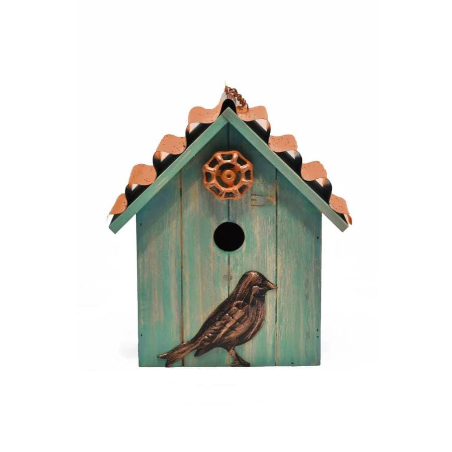 Backyard Glory 10 63 In H Blue Green Synthetic Wood Variety Decorative Bird House In The Bird Houses Department At Lowes Com