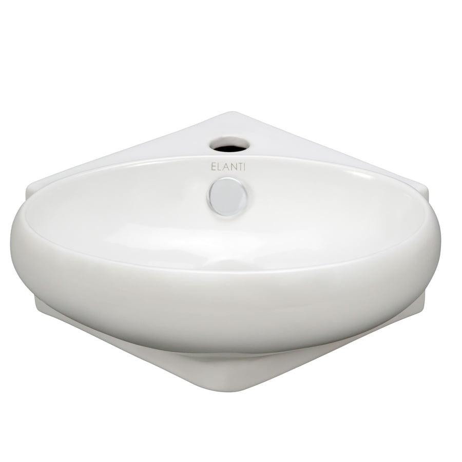 Elanti White Wall-Mount Oval Bathroom Sink with Overflow