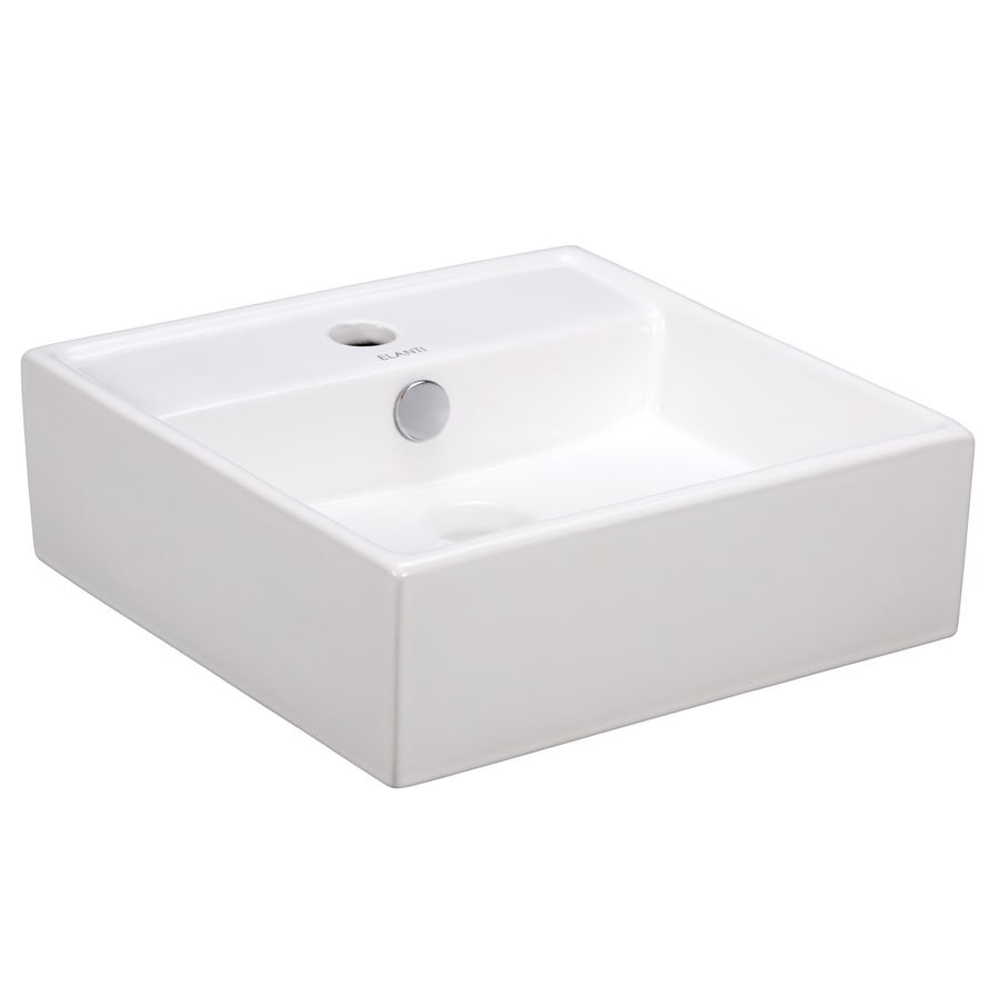 shop elanti white wall mount square bathroom sink with
