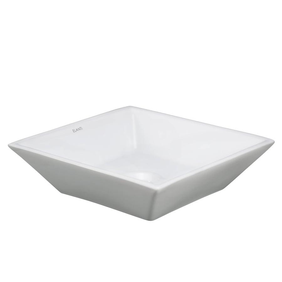 Elanti White Vessel Square Bathroom Sink