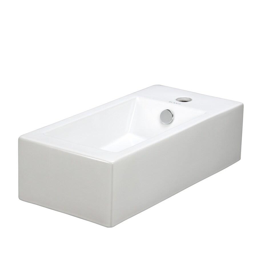 Elanti White Wall-Mount Rectangular Bathroom Sink with Overflow