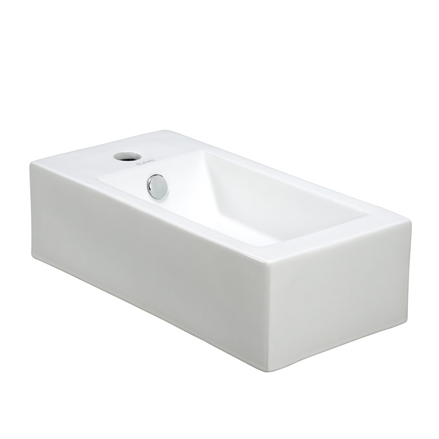 shop elanti white wall mount rectangular bathroom sink with overflow at. Black Bedroom Furniture Sets. Home Design Ideas