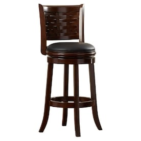 Safavieh Brockway Brown Black Seat Bar Height Upholstered Swivel Bar Stool In The Bar Stools Department At Lowes Com