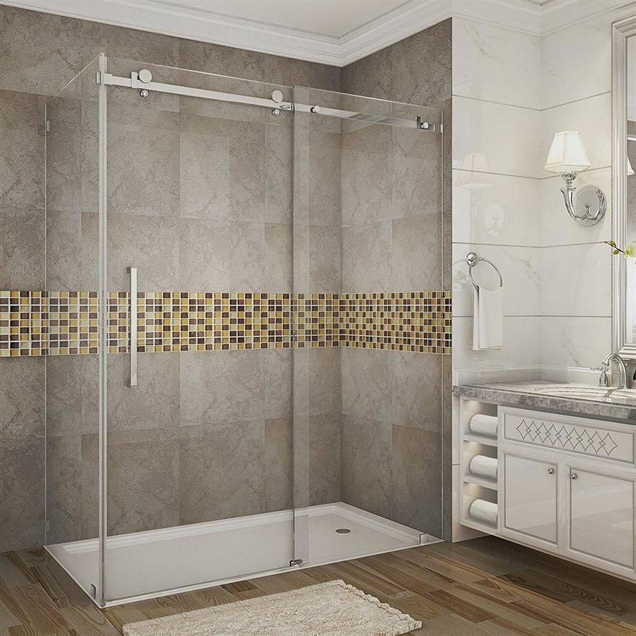 Aston Moselle 75 In H X 60 In W Clear Glass Shower Glass Panel In The Bathtub Shower Door Glass Department At Lowes Com