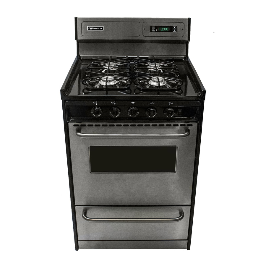 Brown Freestanding 2.92-cu ft Gas Range (Stainless) (Common: 24-in; Actual: 24-in)
