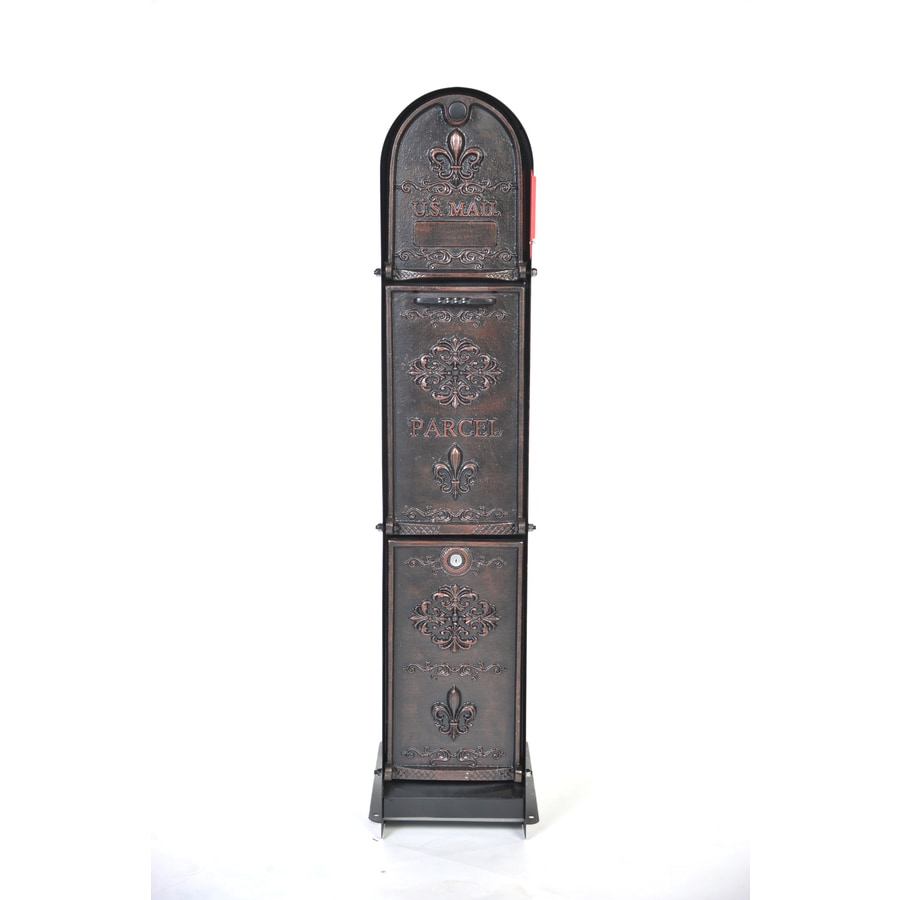 Ore Vaults Ore MailParcelVault Fleur Fore 11.79-in W x 48.51-in H Metal Oil Rubbed Bronze Lockable Ground Mount Mailbox