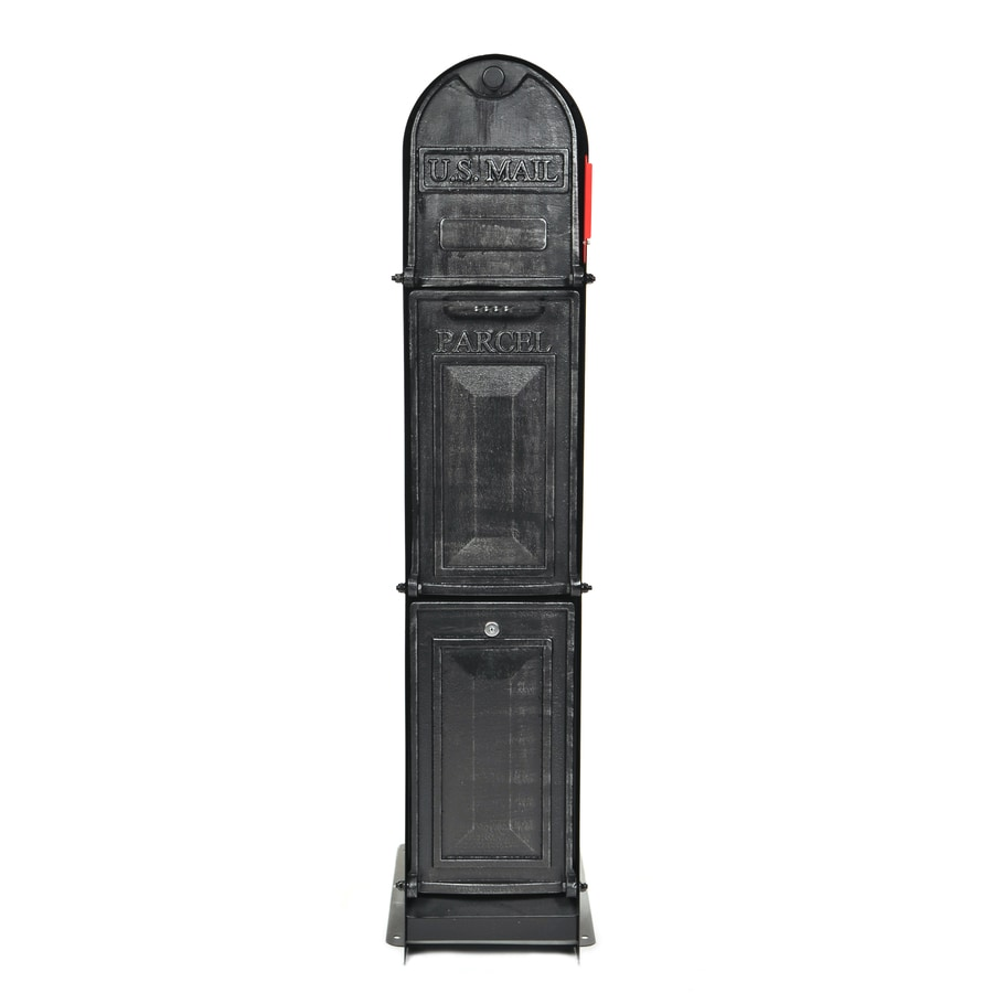 Ore Vaults Ore MailParcelVault Classic Shadow 11.79-in x 48.51-in Metal Silver Pewter Lockable Ground Mount Mailbox