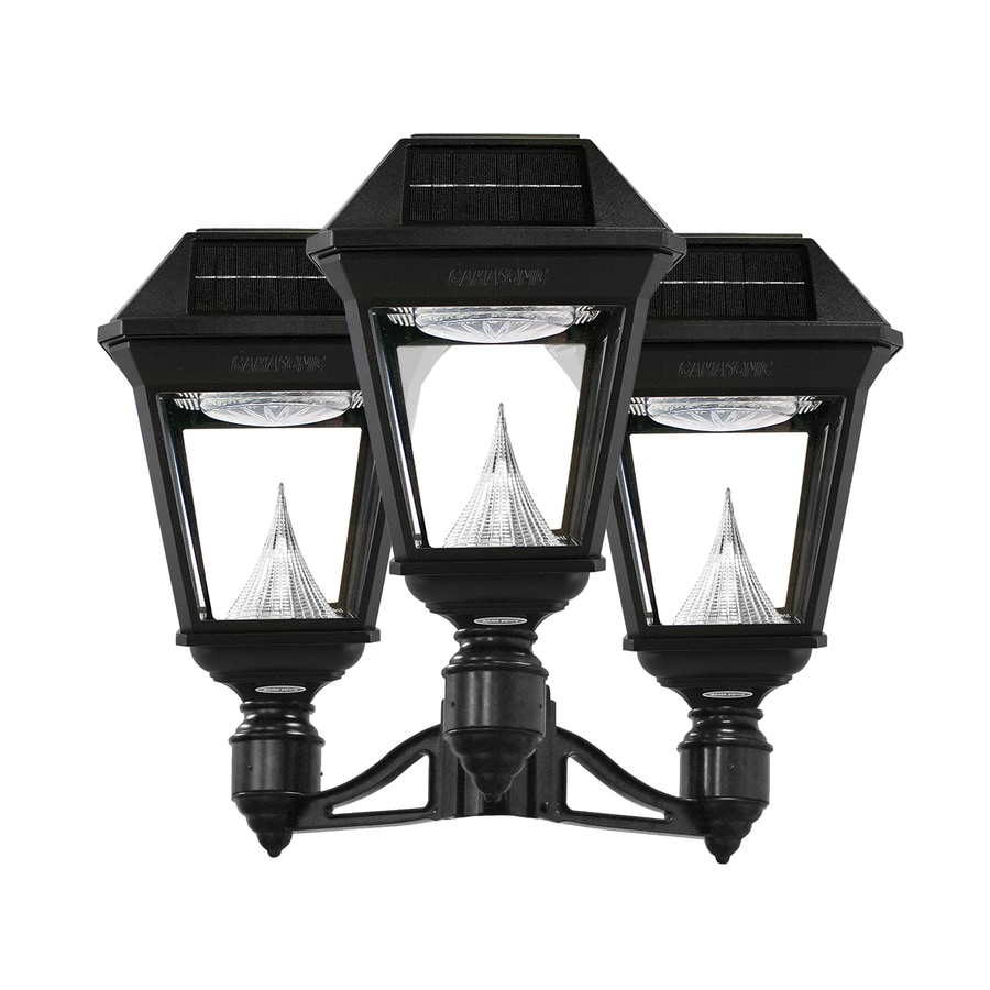 Gama Sonic Imperial-2 22-in H Black Solar Integrated Post Light