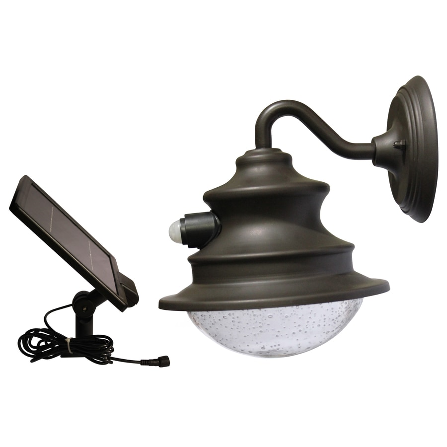 Gama Sonic Barn 10-in H Brown Solar Motion Activated LED Outdoor Wall Light