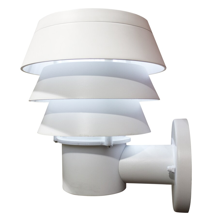 Shop Gama Sonic Triple Tier 10 In H White Solar LED Outdoor Wall Light At Low