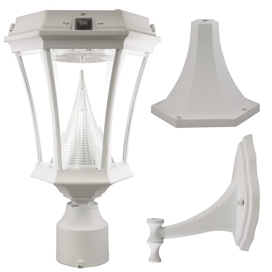 Gama Sonic Victorian 18-in H White Solar Integrated Post Light