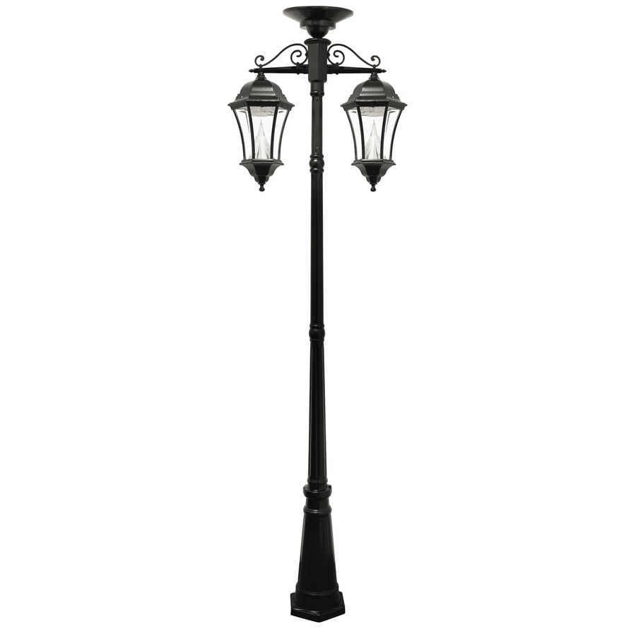 Gama Sonic Victorian 93-in H Black Solar Integrated Complete Post Light