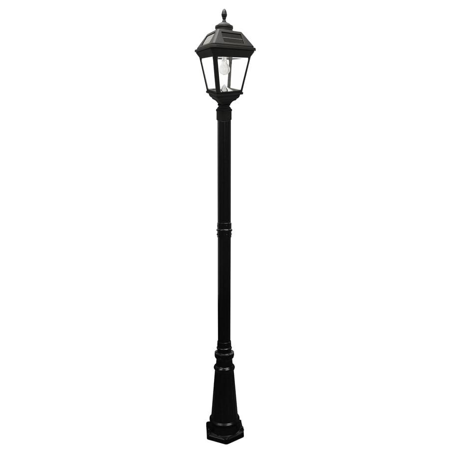 Gama Sonic Imperial Bulb 101-in H Black Solar LED Complete Post Light