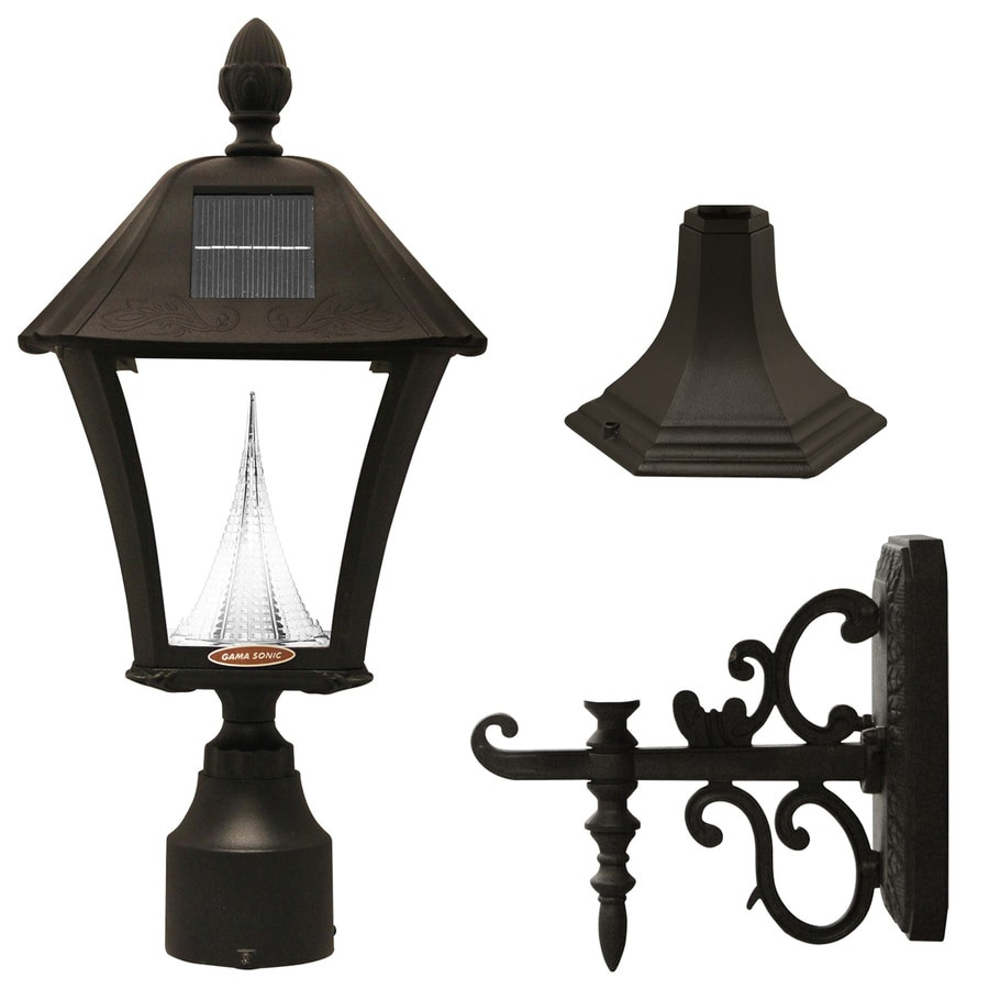 Gama Sonic Baytown 18-in H Black Solar LED Post Light